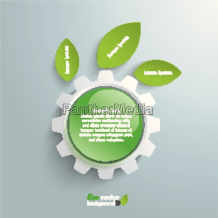 green technology gear leaves green button