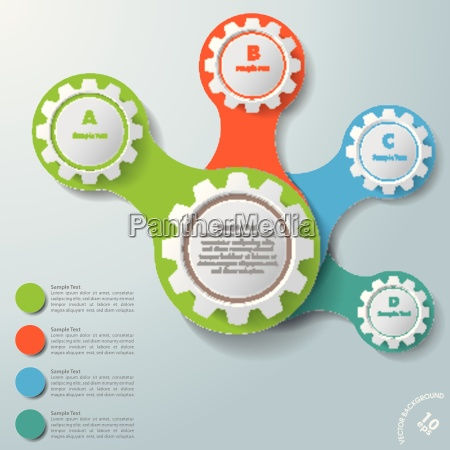 infographisch white connected gears abcd