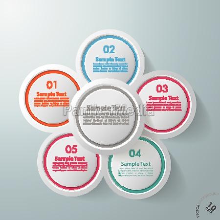 infographic design flower 5 options