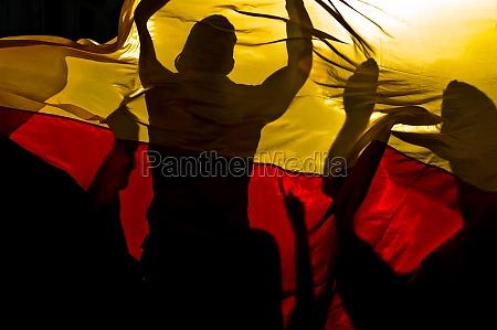 fans feiern hinter deutschlandfahne