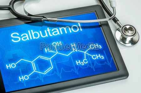 tablet with the chemical structural formula