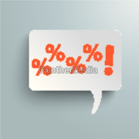 rectangle speech bubble orange sale piad
