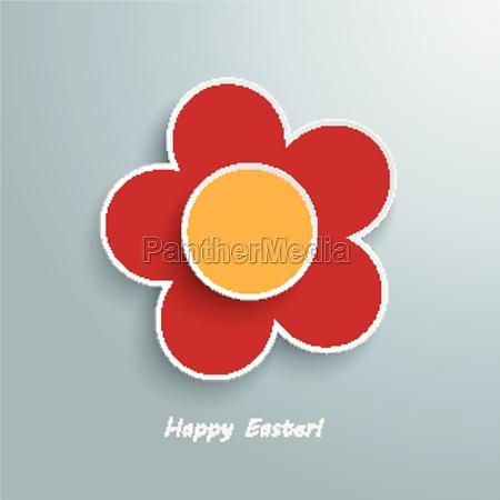 red orange flower easter card