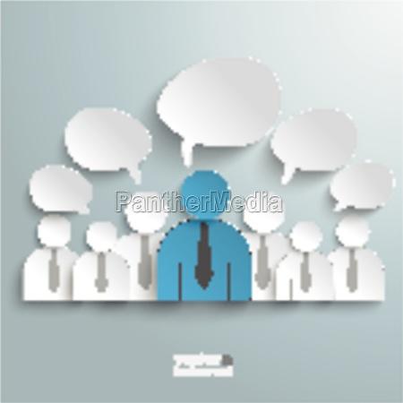 seven business humans speech bubbles