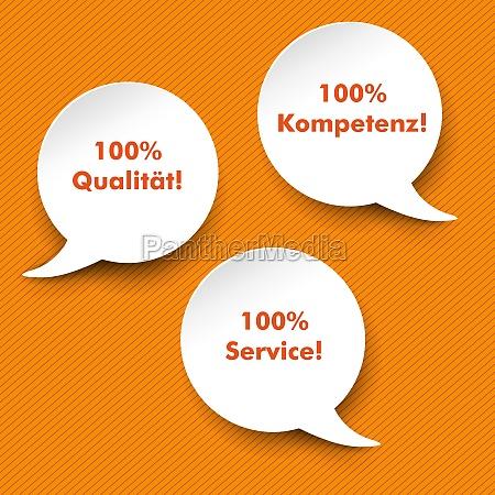 speech bubbles quality service competence