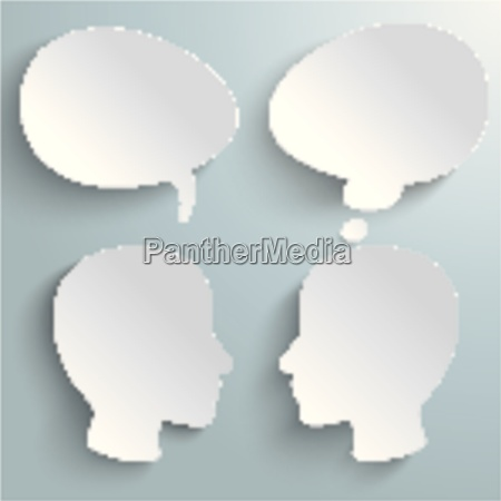 two heads speech and thought bubbles