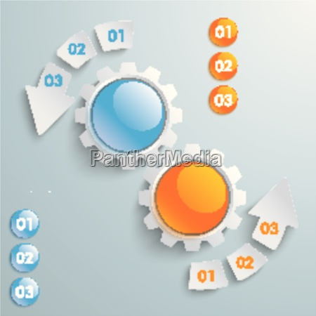two gears colored buttons 6 pieces