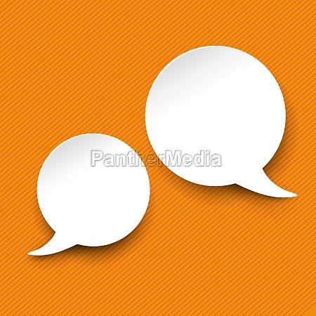 sprech und denkblase etiketten orange streifen