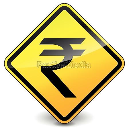 vector yellow rupee icon