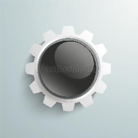 white gear black button piad
