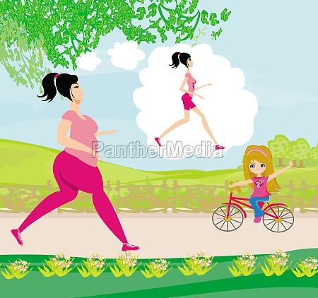 junge frau joggen fette maedchen traeumt