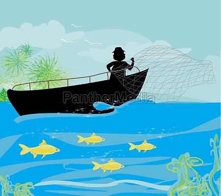 fischer und fischerboot