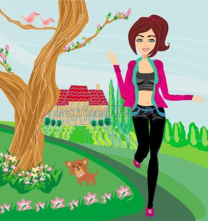 jogging girl in spring