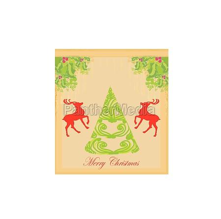 weihnachtsbaum und rote reder hintergrund