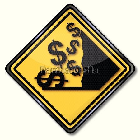 sign dollar and crash