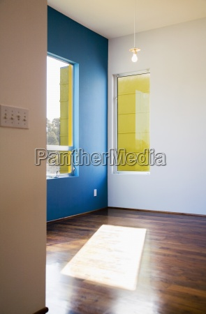 modern interior with blue wall