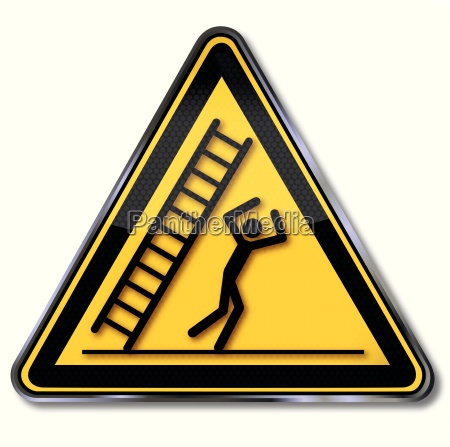 danger signs attention falling ladder and