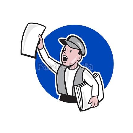 zeitungsjunge zeitungs kreis cartoon