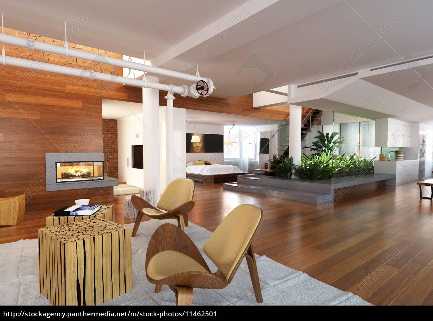Lizenzfreies Bild 11462501 - Modernes Haus mit Wohnzimmer Schlafzimmer und  Küche