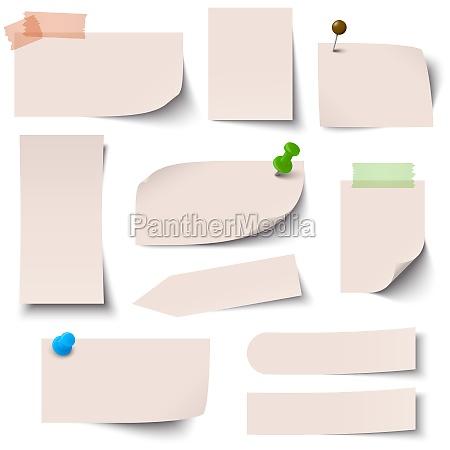sammlung papiernotizen braun