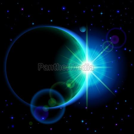 dunkler planet mit aufflackern