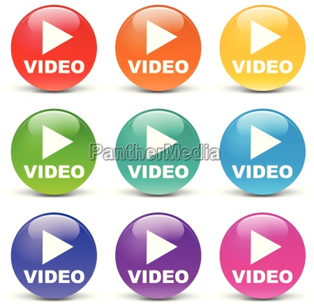 vector play video set icons
