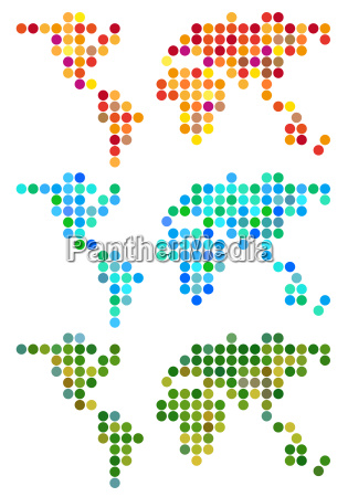 abstract dot world map vector set