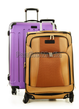 two suitcases isolated on white background