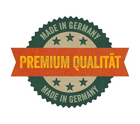 label mit der aufschrift premium