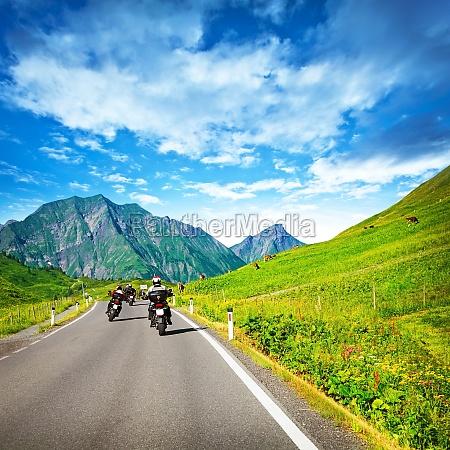 motorbikers group in mountainous tour