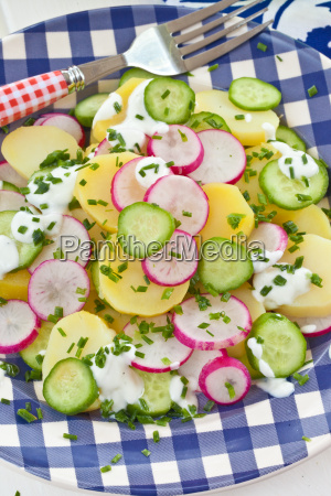 potato salad with fresh cucumber and