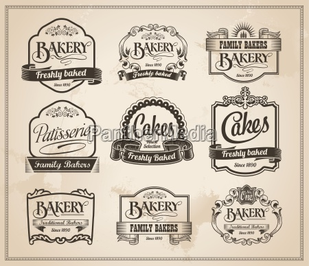 vintage retro bakery labels und sign