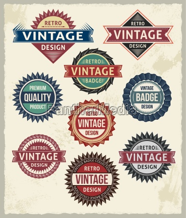 set of retro vintage badges and
