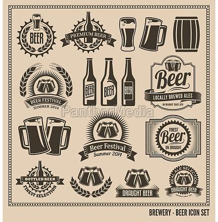 bier icon set etiketten poster
