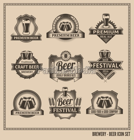 retro beer labels and icons