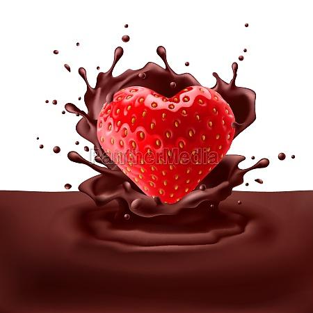 strawberry herz mit schokolade