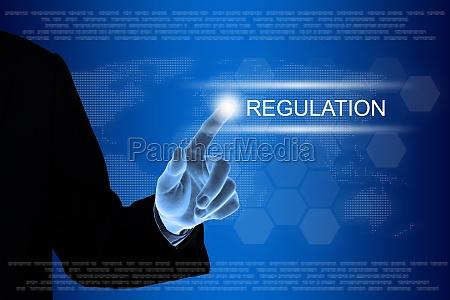 business hand klicken regulierung taste auf