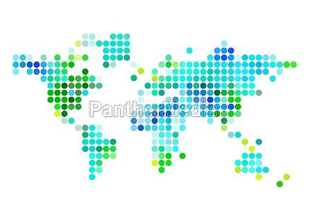 abstarct world map green blue dots