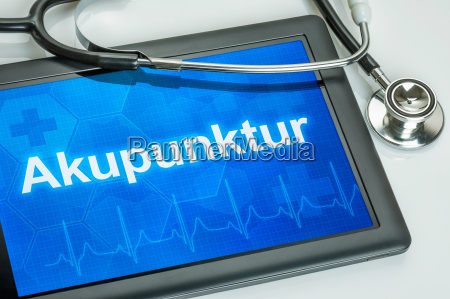 tablet with the text acupuncture on