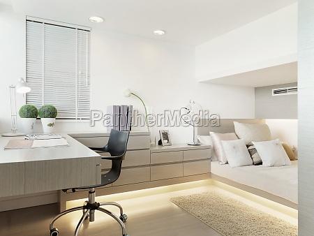 desk and bed in modern bedroom