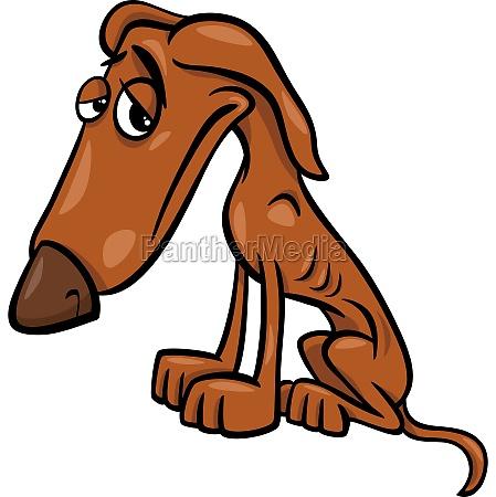 armen hungrigen hund cartoon abbildung