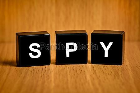 crime spy word on black block