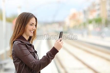 woman browsing social media in a