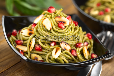 pasta with pesto roasted almonds and
