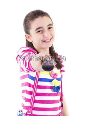 happy little girl watching tv