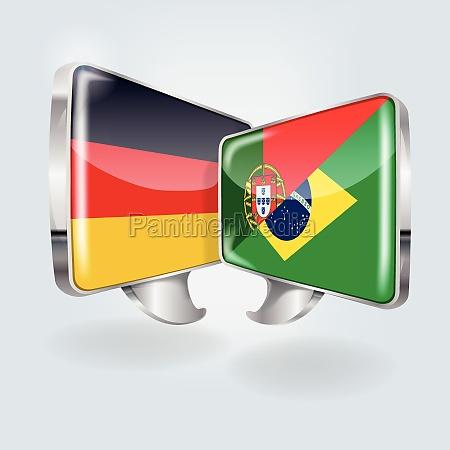 sprechblasen in deutsch portugiesisch und brasilianisch