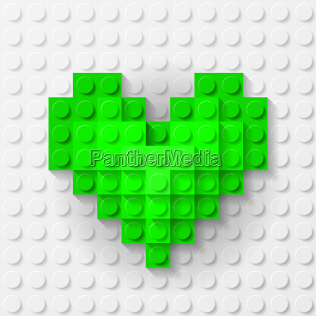 green heart made of construction kit