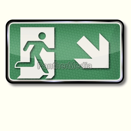 escape sign with emergency route and