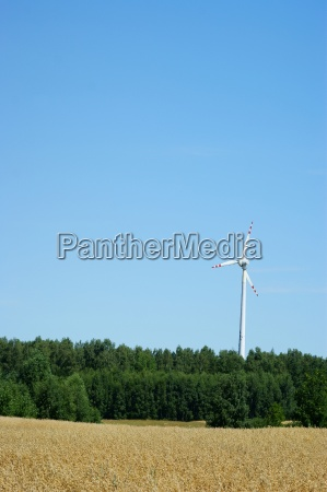 wind power turbine blue sky and