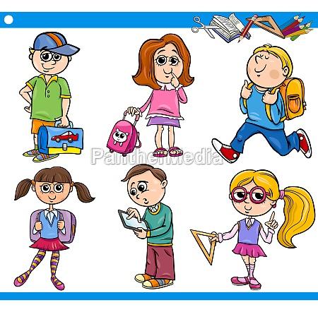 cute primary school children cartoon set